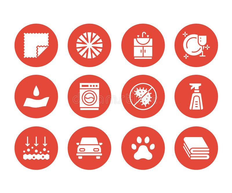 Microfiber cloth properties flat glyph icons. Absorbing material, dust cleaning, washable, antibacterial, clean. Detergent illustrations. Signs for napkin stock illustration