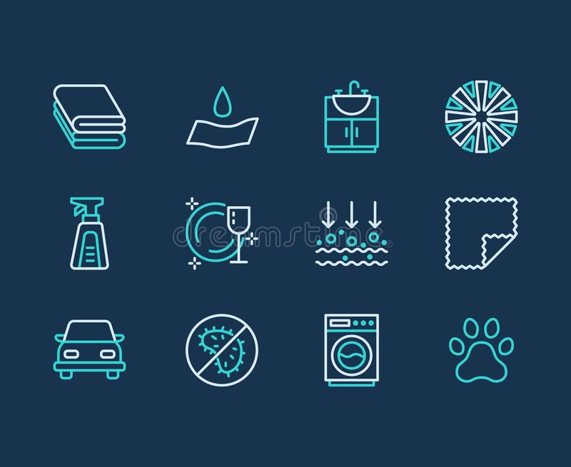 Microfiber cloth properties flat line icons. Absorbing material, dust cleaning, washable, antibacterial, clean detergent. Illustrations. Thin signs for napkin stock illustration