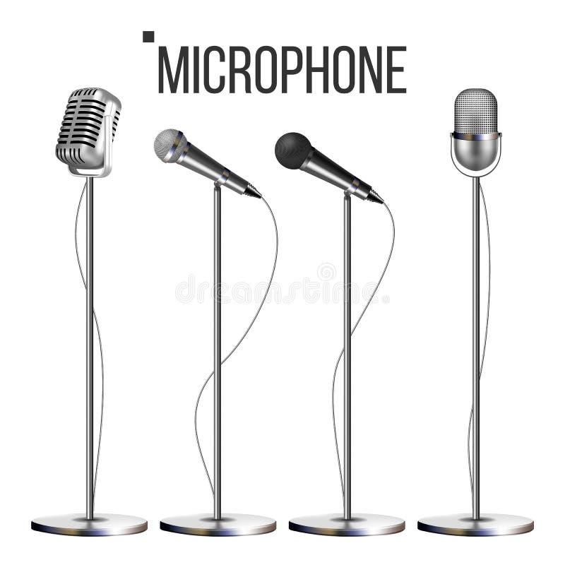 Microfone ajustado com vetor do suporte Ícone da música Concerto do vintage Moderno e retro Símbolo musical de uma comunicação au ilustração royalty free