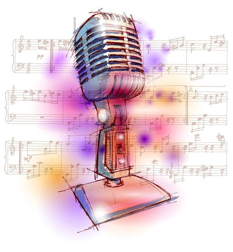 Microfone & notas clássicos ilustração royalty free