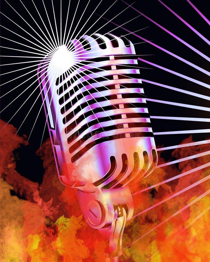 Microfone ardente ilustração do vetor