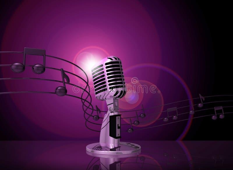 Microfone clássico com iluminação cor-de-rosa ilustração do vetor