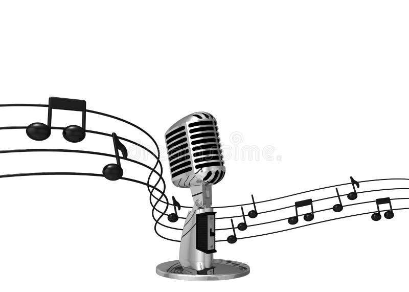 Microfone clássico com notas da música no fundo ilustração do vetor