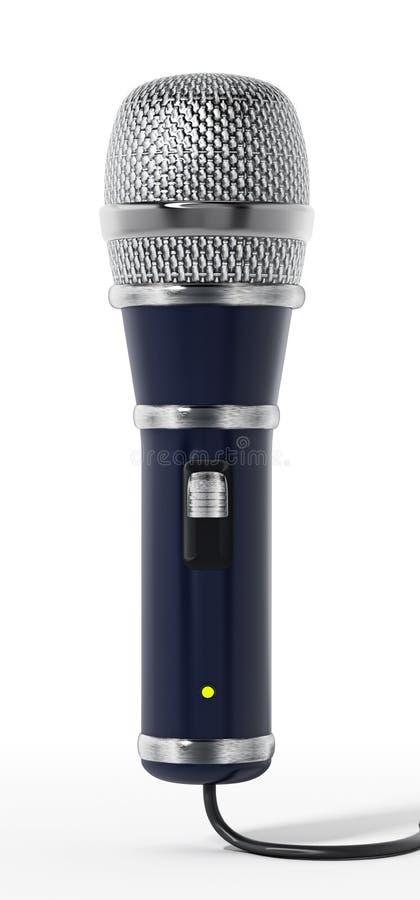Microfone clássico do cabo do projeto isolado no fundo branco ilustração 3D ilustração do vetor