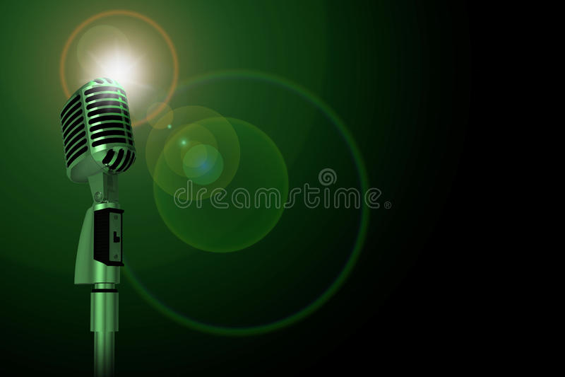 Microfone clássico, iluminação verde ilustração royalty free