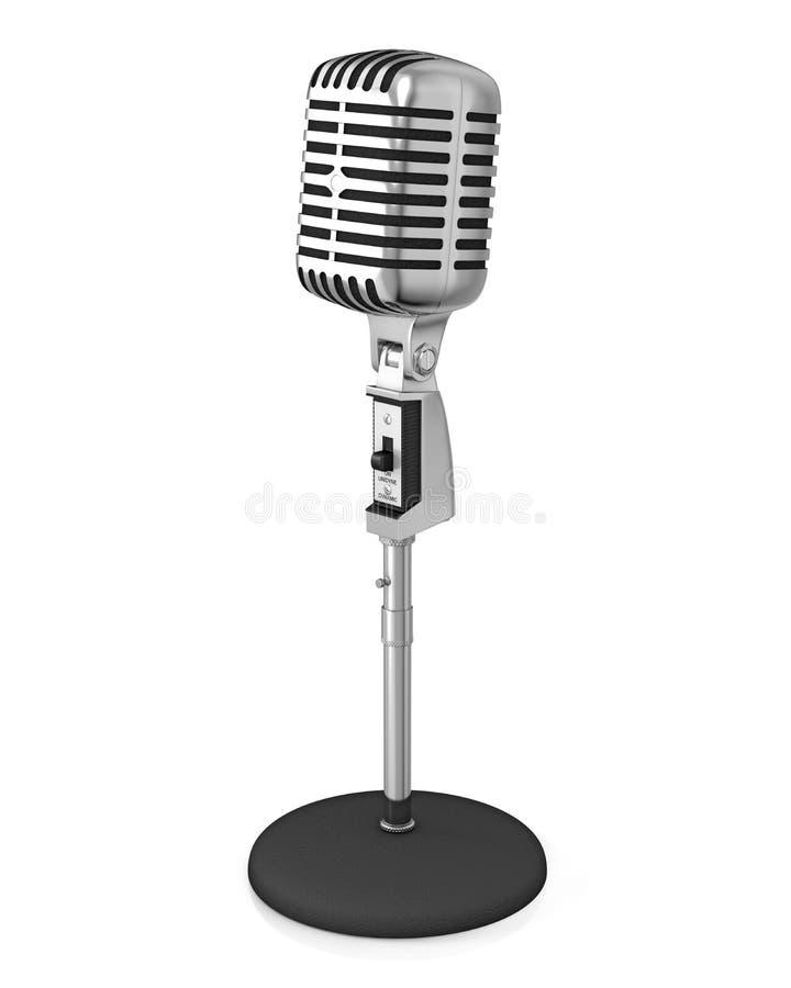 Microfone clássico no carrinho preto ilustração royalty free