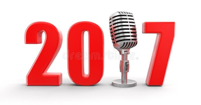 Microfone com 2017 ilustração royalty free
