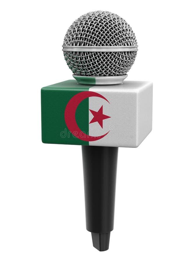 Microfone com bandeira argelina Imagem com caminho de recorte ilustração stock
