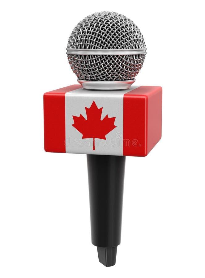 Microfone com bandeira canadense Imagem com caminho de recorte ilustração do vetor