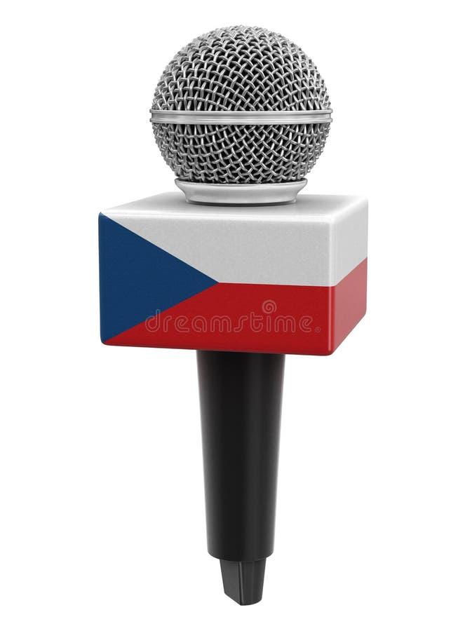 Microfone com bandeira checa Imagem com caminho de recorte ilustração stock