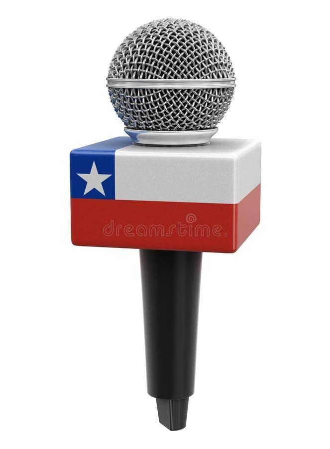 Microfone com bandeira chilena Imagem com caminho de recorte ilustração do vetor