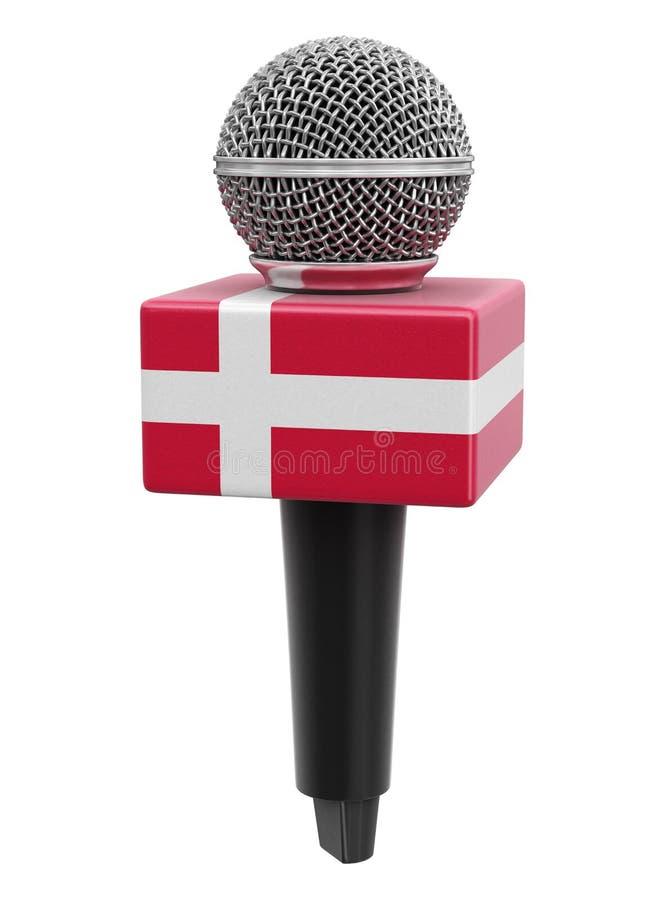 Microfone com bandeira dinamarquesa Imagem com caminho de recorte ilustração do vetor