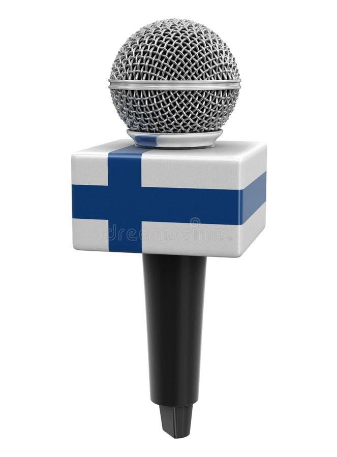 Microfone com bandeira finlandesa Imagem com caminho de recorte ilustração stock