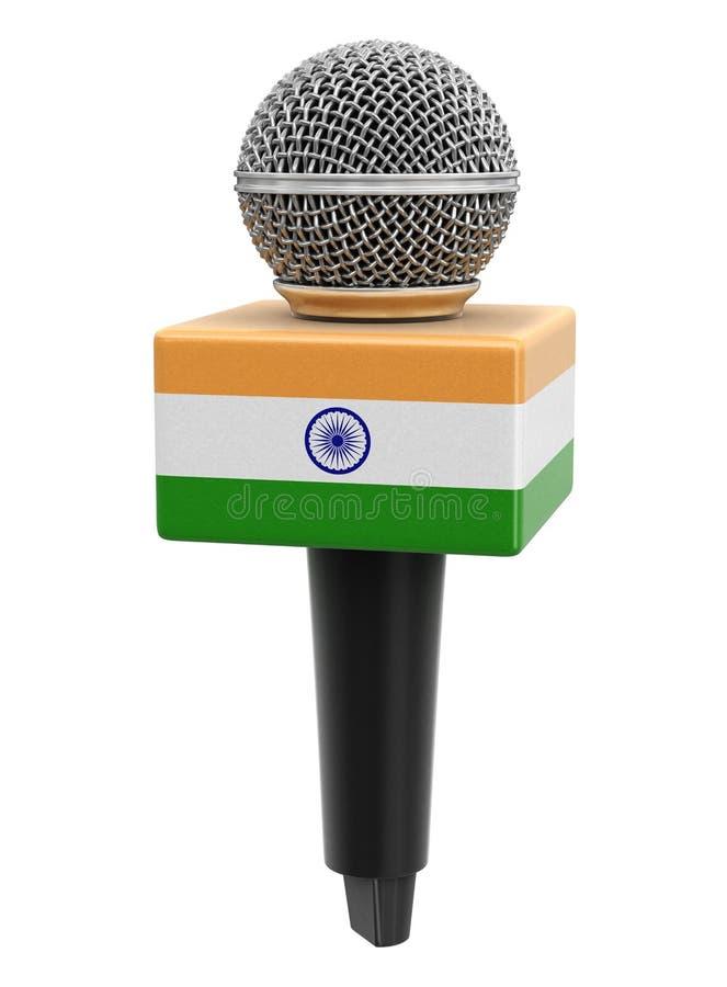 Microfone com bandeira indiana Imagem com caminho de recorte ilustração do vetor