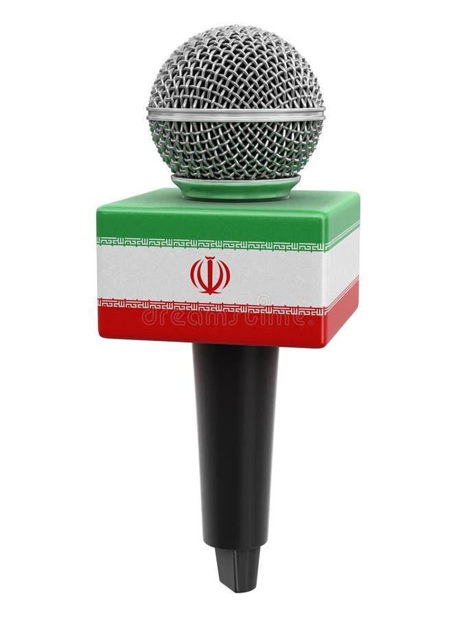 Microfone com bandeira iraniana Imagem com caminho de recorte ilustração royalty free