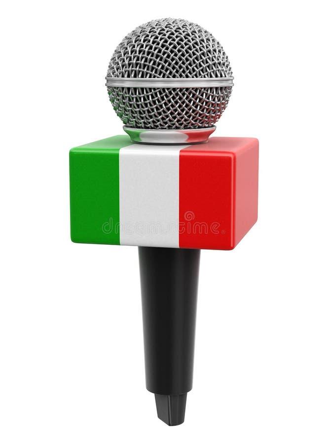 Microfone com bandeira italiana Imagem com caminho de recorte ilustração stock
