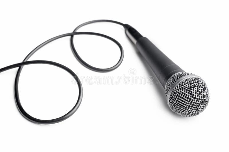 Microfone com cabo encaracolado fotografia de stock