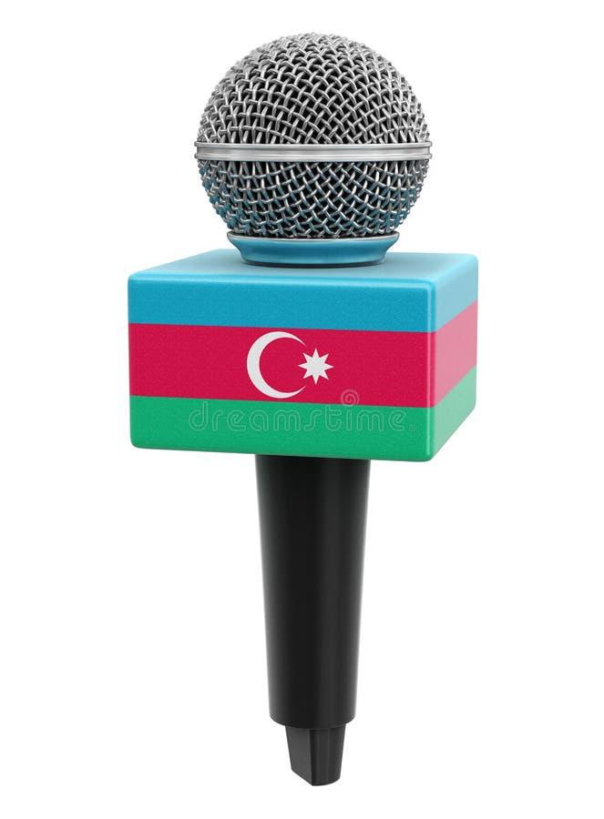 Microfone com caminho de recorte de sinalizador do Azerbaijão incluído ilustração royalty free