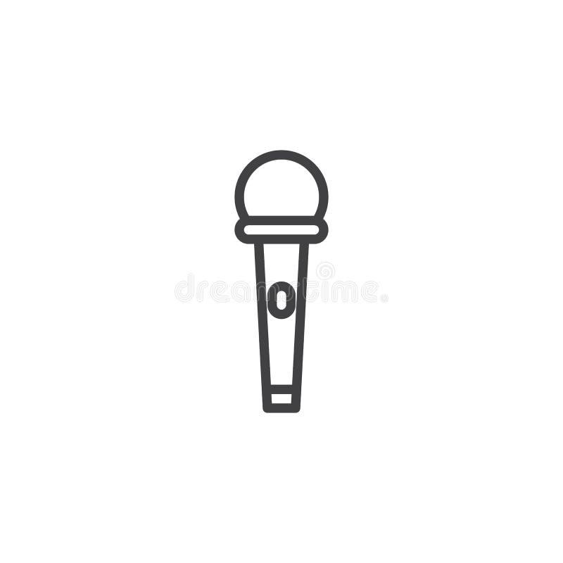 Microfone com linha ícone do botão do poder ilustração stock