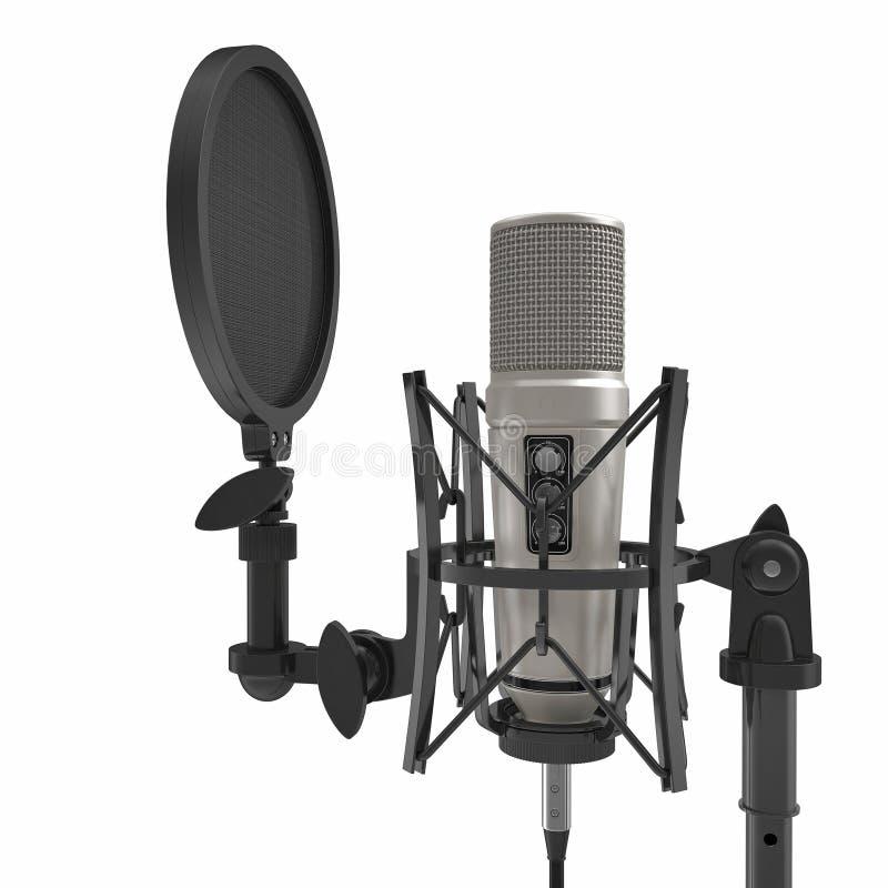 Microfone com o suporte completo do microfone da altura isolado no branco ilustração 3D ilustração royalty free