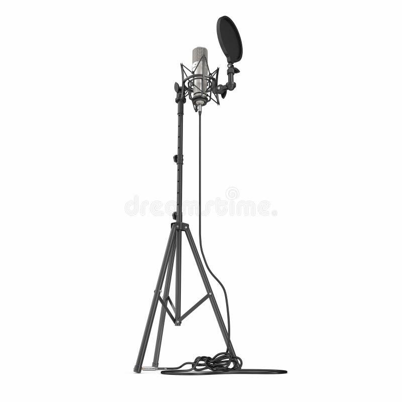 Microfone com o suporte completo do microfone da altura isolado no branco ilustração 3D ilustração stock