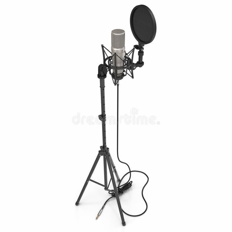 Microfone com o suporte completo do microfone da altura isolado no branco ilustração 3D ilustração do vetor