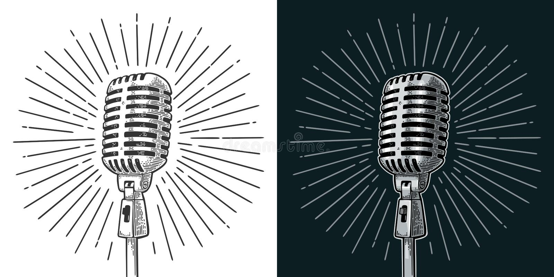 Microfone com raio Ilustração da gravura do preto do vetor do vintage ilustração do vetor