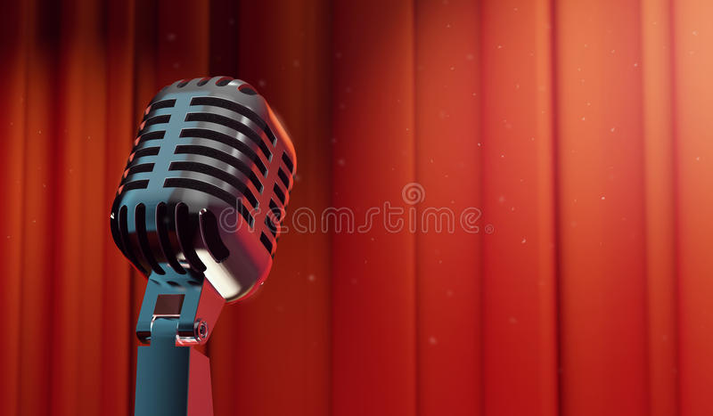 microfone 3d retro no fundo vermelho da cortina ilustração stock