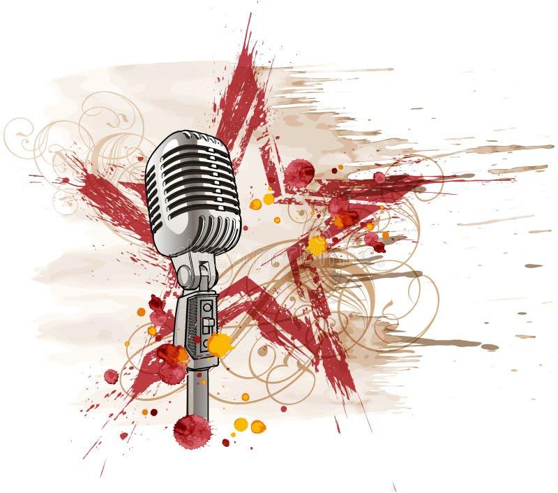 Microfone da estrela do rock ilustração do vetor