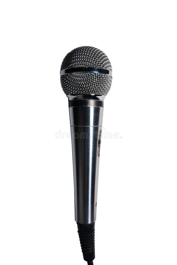 Microfone de aço de Chrome isolado em um fundo branco imagens de stock royalty free