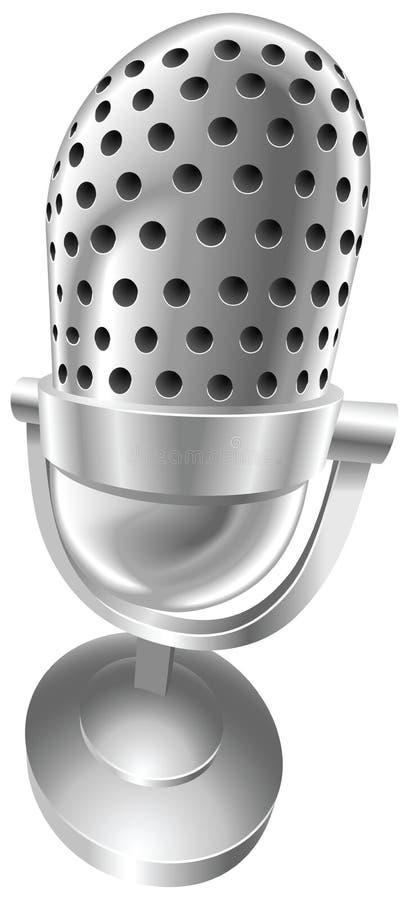 Microfone de rádio de aço retro ilustração do vetor