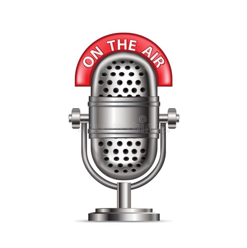 Microfone de rádio retro com ilustração stock