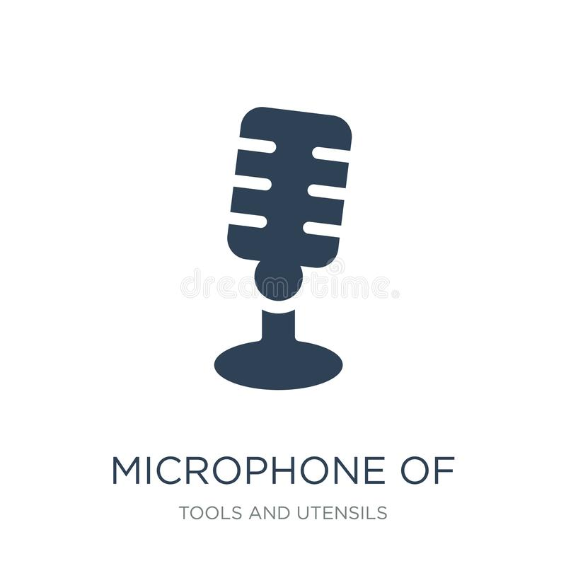 microfone de vintage de ícone no estilo na moda do projeto microfone de vintage de ícone isolado no fundo branco microfone de ilustração do vetor