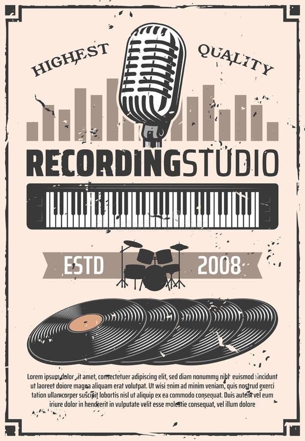 Microfone do estúdio de gravação, discos do vinil ilustração do vetor