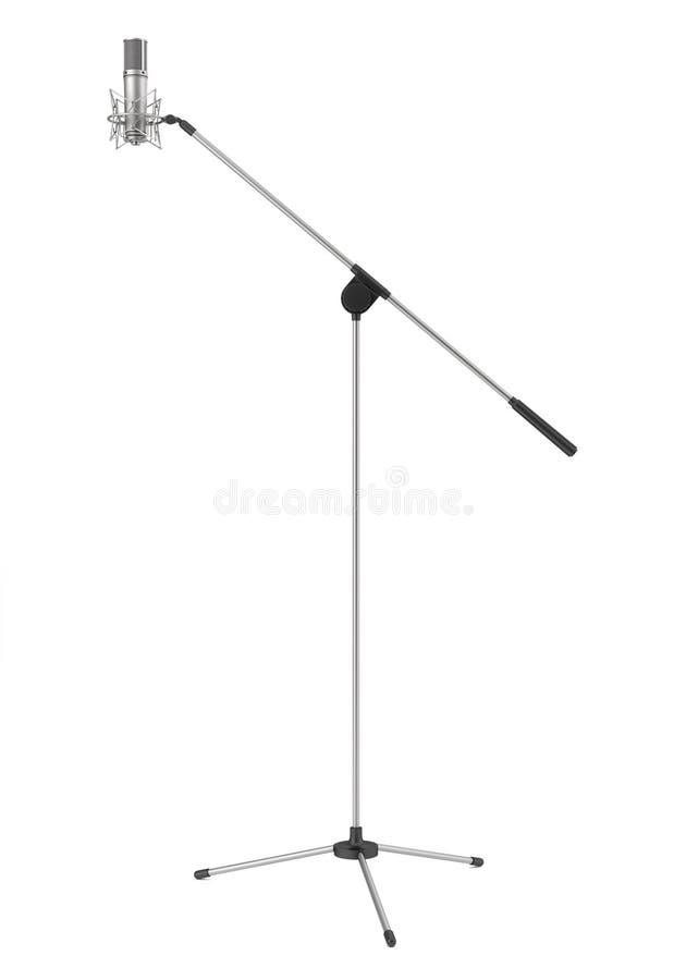 Microfone do estúdio isolado no branco ilustração royalty free