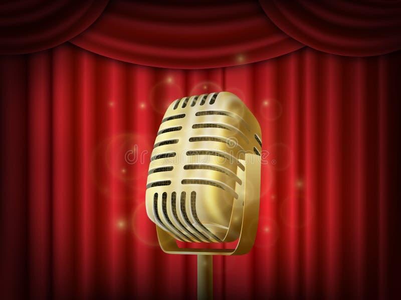 Microfone do metal do vintage Contexto de seda vermelho da cortina Mic retro na fase vazia do teatro ilustração royalty free