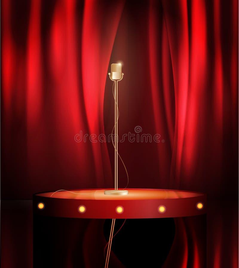 Microfone do metal do vintage na fase com contexto vermelho da cortina mic na fase vazia do teatro, ilustração da imagem da arte  ilustração do vetor