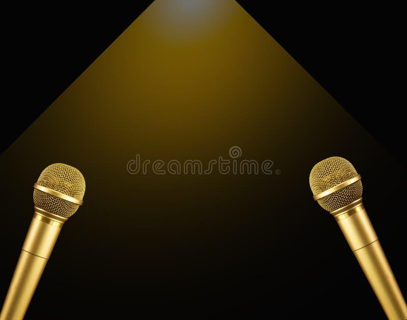 Microfone do ouro dobro com luz morna no fundo preto ilustração do vetor