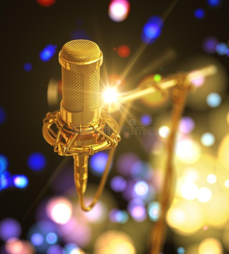 Microfone do ouro sumário bonito no fundo colorido ilustração royalty free