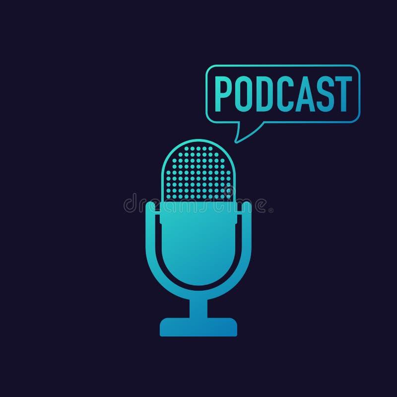 Microfone do Podcast com ícones da bolha do discurso Ilustração do vetor ilustração stock