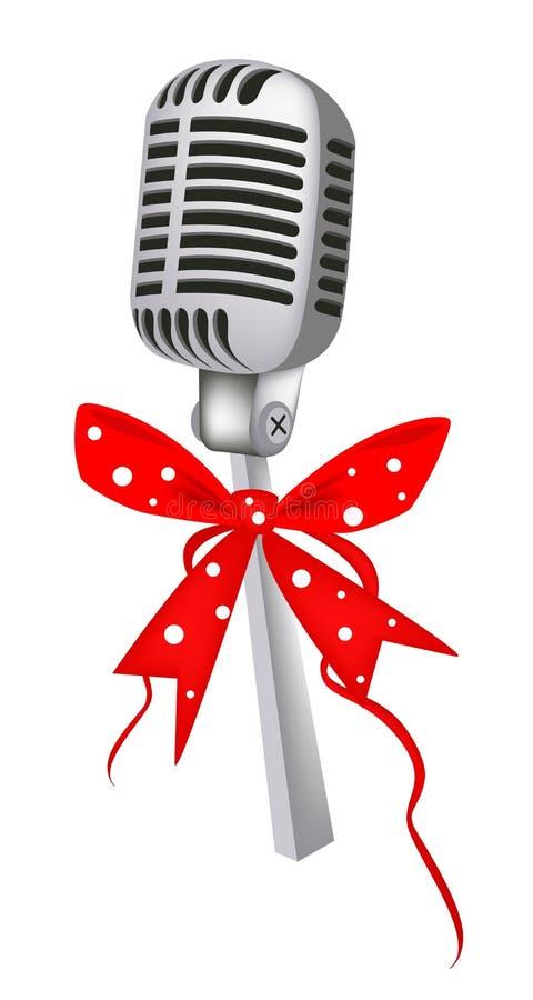 Microfone do vintage com fita vermelha ilustração stock
