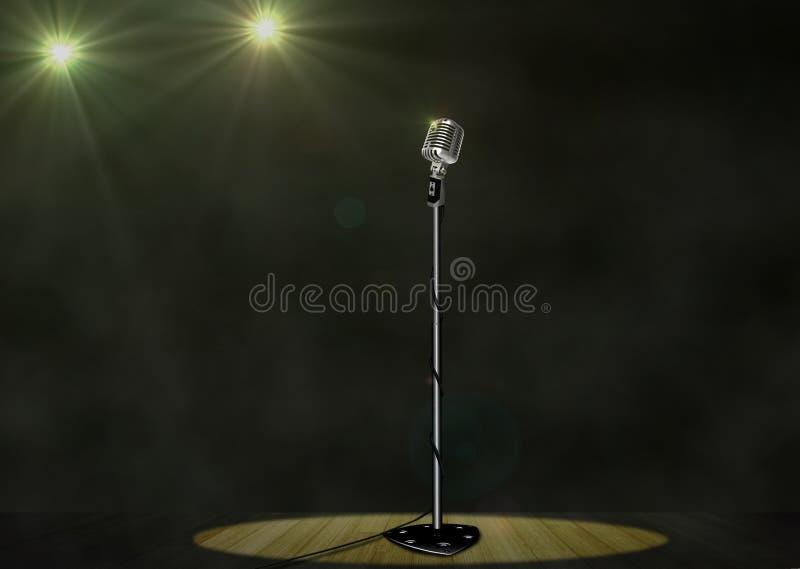 Microfone do vintage com os projectores na fase ilustração do vetor
