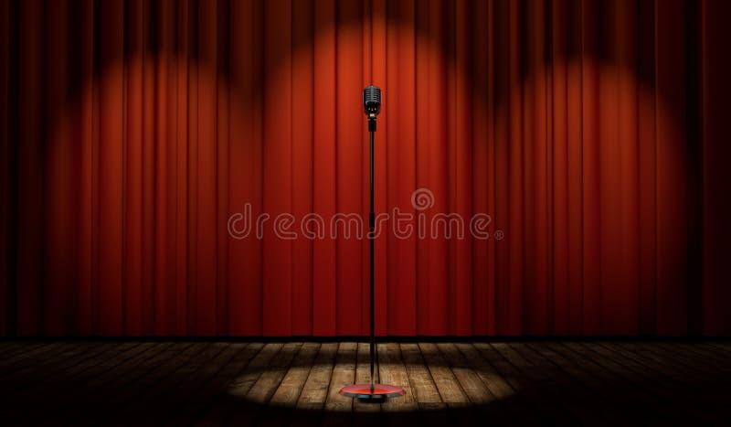microfone do vintage 3d na fase com cortina vermelha ilustração royalty free