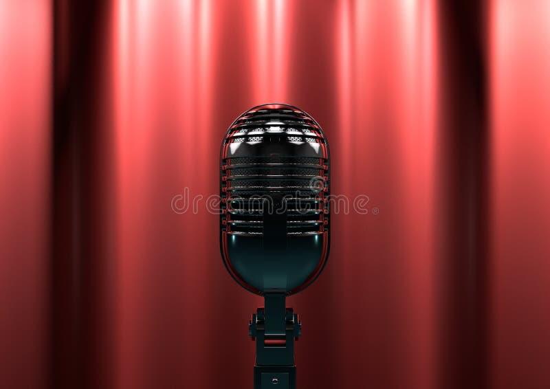 Microfone do vintage na fase com cortinas vermelhas Luz temperamental da fase fotografia de stock royalty free