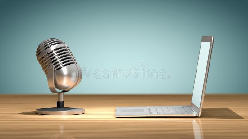 Microfone do vintage na frente de um portátil ilustração stock