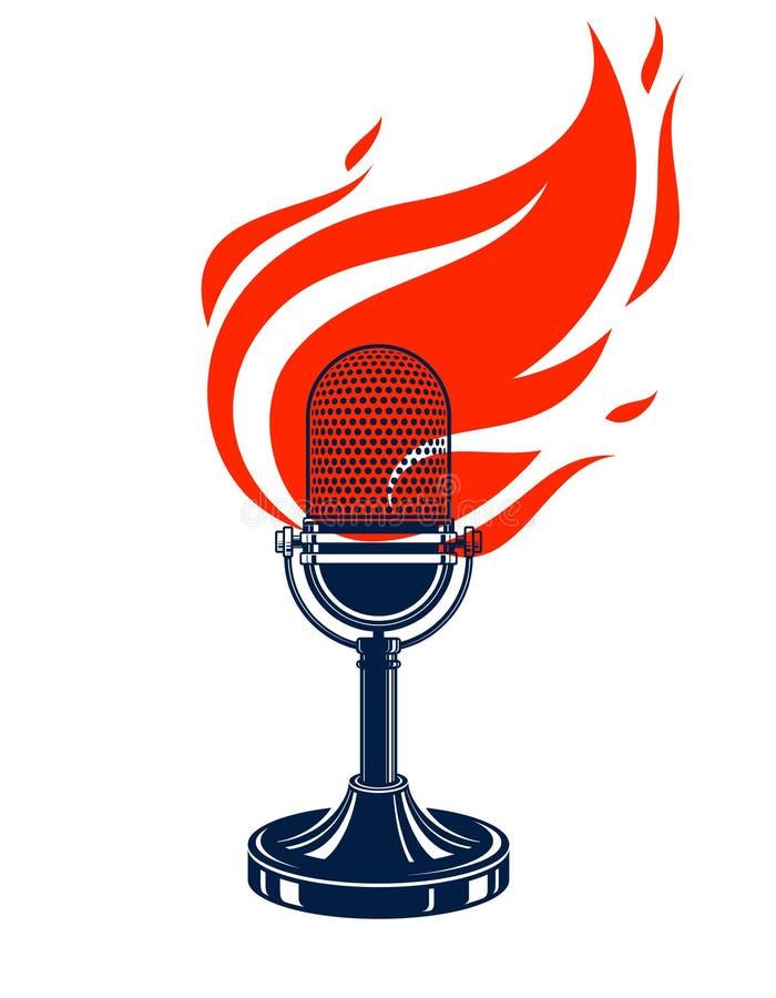 Microfone do vintage no fogo, mic quente nas chamas, música de gravação do estúdio, na datilografia do ar, no logotipo do vetor o ilustração do vetor