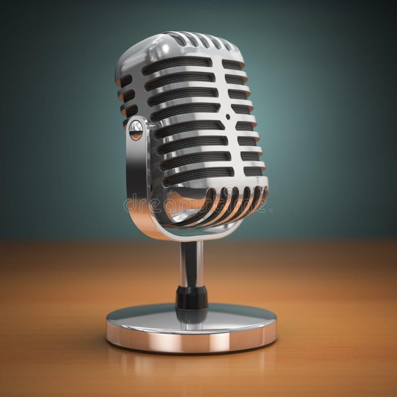 Microfone do vintage no fundo verde Estilo retro ilustração stock