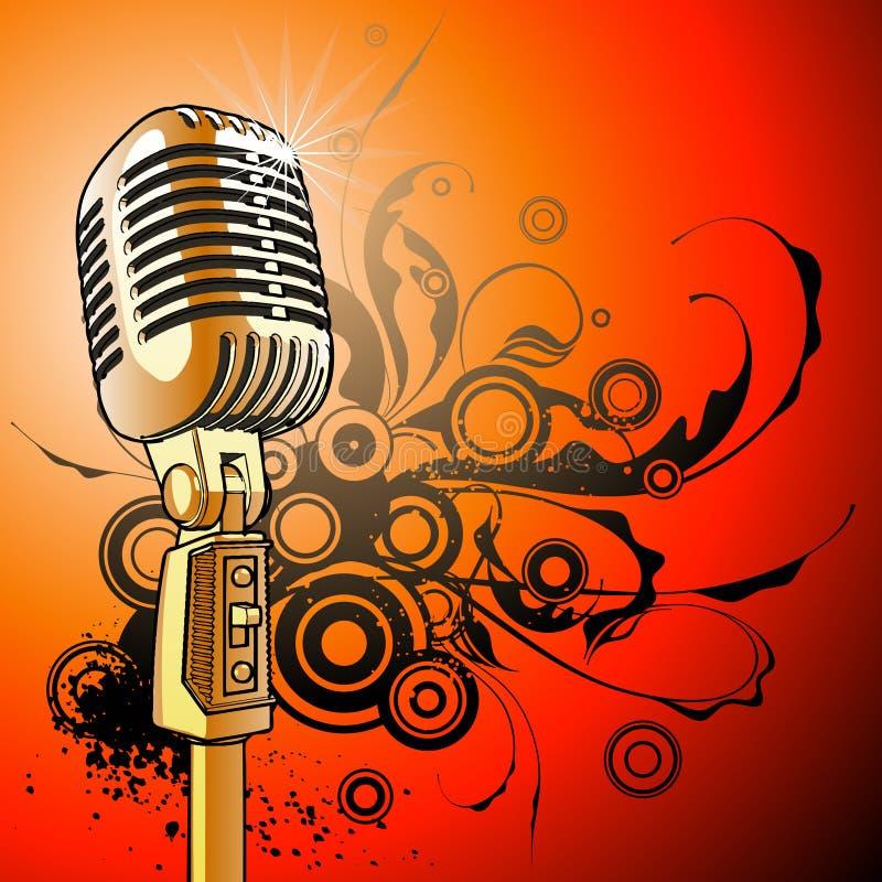 Microfone do vintage - vetor ilustração royalty free