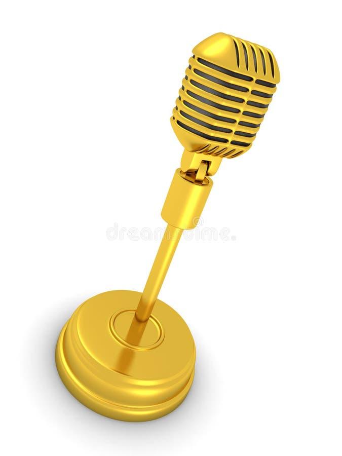Microfone dourado retro do vintage no fundo branco ilustração royalty free