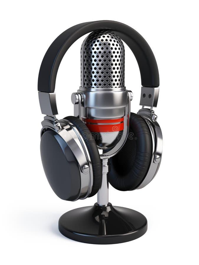 Microfone e auscultadores ilustração royalty free